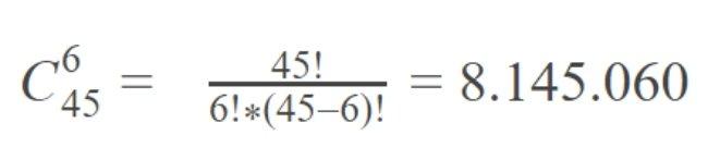 công thức tính xác suất mega 6/45