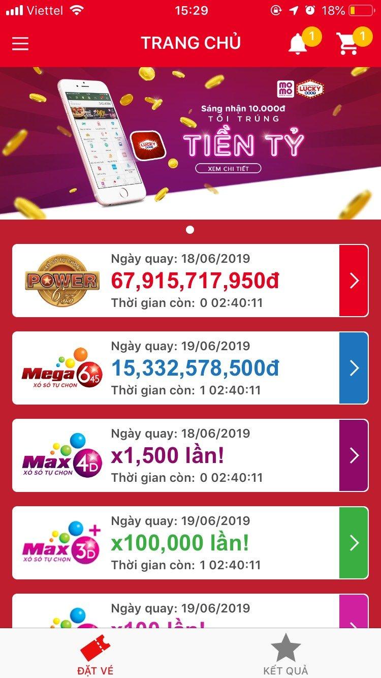 Chọn hình thức chơi trên ứng dụng mua hộ Lucky Best