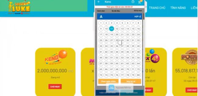 Chọn cách chơi và dãy số, kỳ chơi bạn muốn tham gia khi Logo của Luckylott