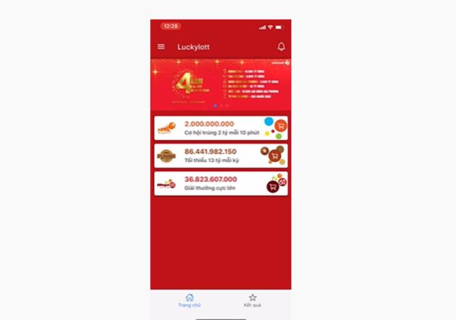 Đăng nhập vào ứng dụng và chọn hình thức bạn muốn tham gia khi chơi vietlott qua điện thoại