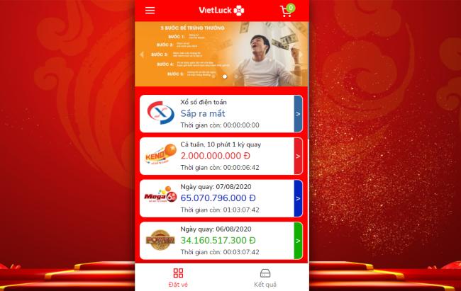 Đăng nhập vào ứng dụng và chọn loại xổ số bạn muốn tham gia khi chơi vietlott qua điện thoại