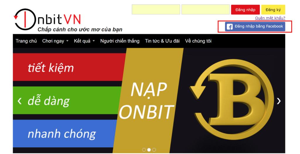 Đăng nhập tài khoản Onbit bằng Facebook
