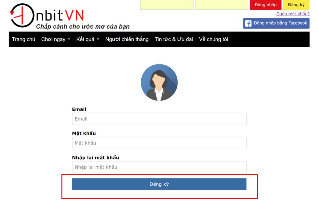 Đăng ký tài khoản Onbit bằng Email