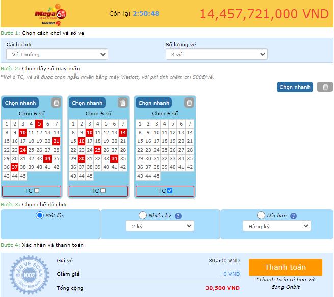 Các bước chọn và đặt vé khi mua vé số online