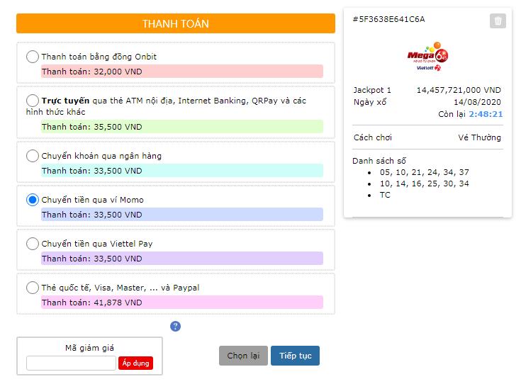 Các hình thức thanh toán khi mua vé số online