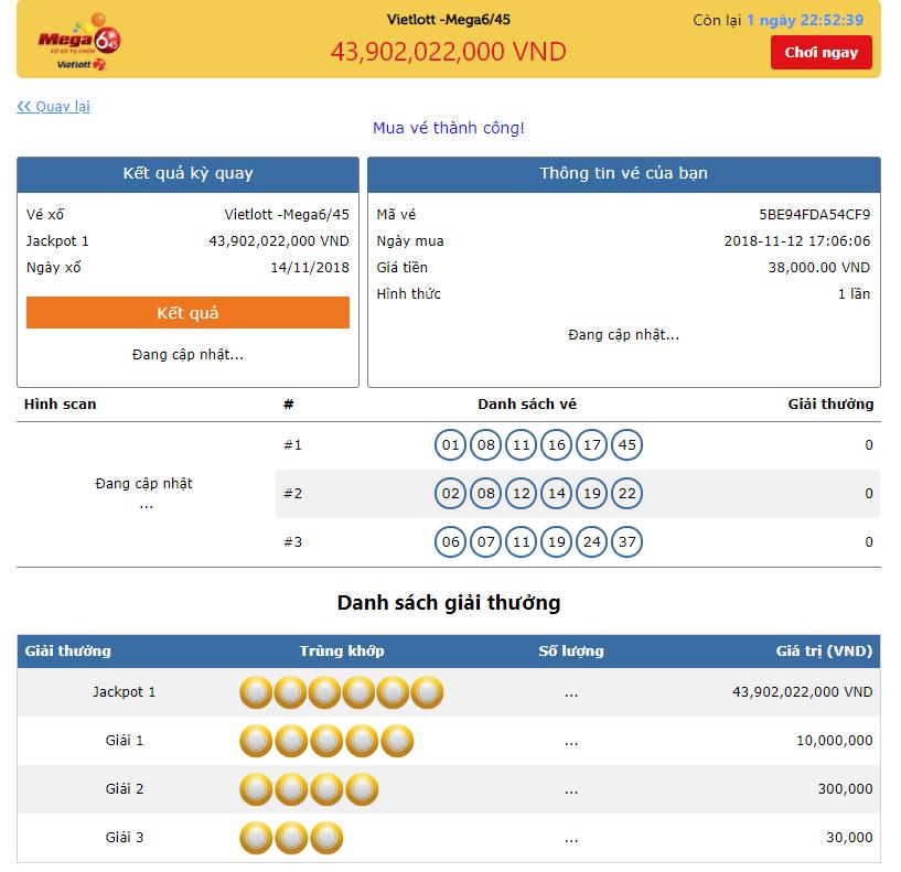 Kiểm tra lại thông tin khi mua vé số online