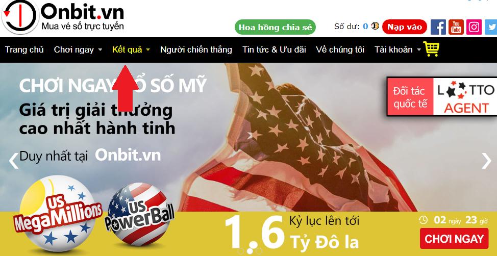 Cách dò kết quả mua vé số online Vietlott trên Onbit.vn