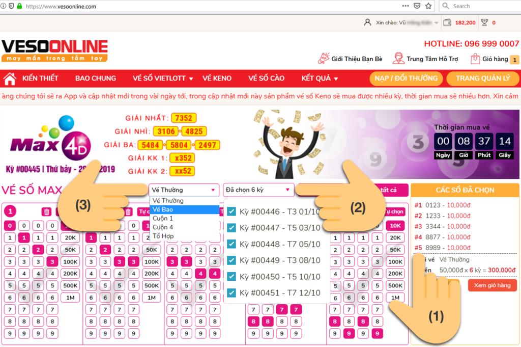 Lựa chọn cách chơi và số lượng vé cho mỗi kỳ chơi khi mua vé số online Vietlott