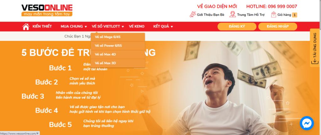 Chọn loại vé số bạn muốn mua trên thanh công cụ khi mua vé số online Vietlott