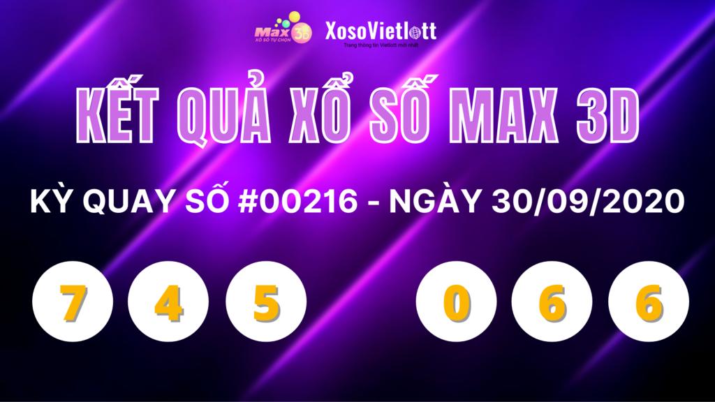 KQXS Max 3D ngày 30/9