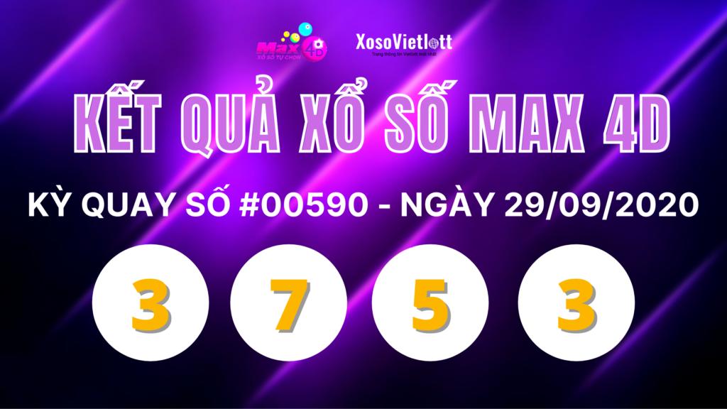 KQXS Max 4D ngày 29/9