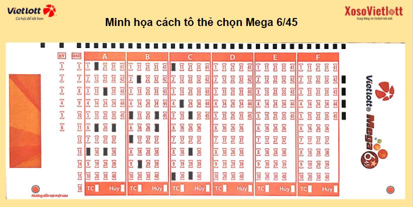Minh họa cách tô thẻ chọn Mega 6/45